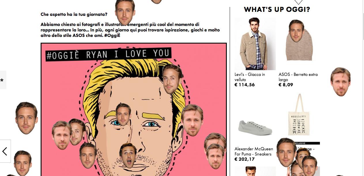 Piovono faccioni di Ryan Gosling nel nuovo post #Oggiè di Asos.