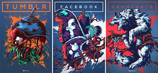 I social media come creature fantastiche nelle opere di Ivan Belikov