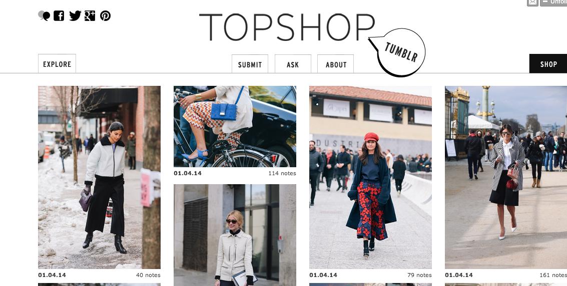 Tumblr fotografico di Topshop, brand di abbigliamento inglese.