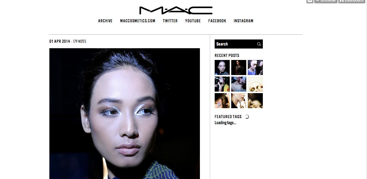 Tumblr fotografico di Mac Cosmetics, un noto brand di Make up.