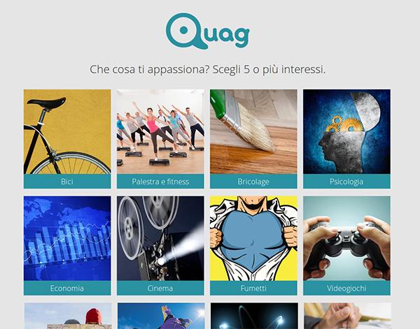 Menù degli interessi su Quag